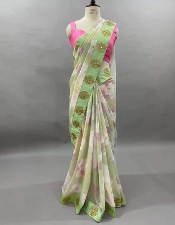 pista saree - georgette | blouse -banglori silk fabric printed work wedding