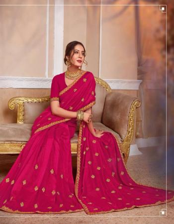 pink vichitra silk fabric embroidery work ethnic