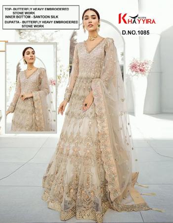 off white top - butterfly net | bottom + inner - heavy santoon silk | dupatta - butterfly net | type - semistitch fabric embroidery stone work ethnic