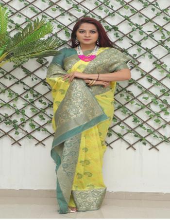 yellow soft lichi silk fabric weaving jacqaurd  work party wear