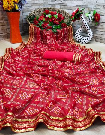 red  saree - georgette | blouse - banglori silk  fabric badhani print gotta patti  work festive