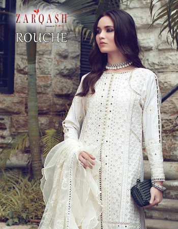 white top - lawn cotton heavy embroidery |bottom -semi lawn cotton |dupatta- heavy butterfly net embroidery with frill fabric embroidery work festive