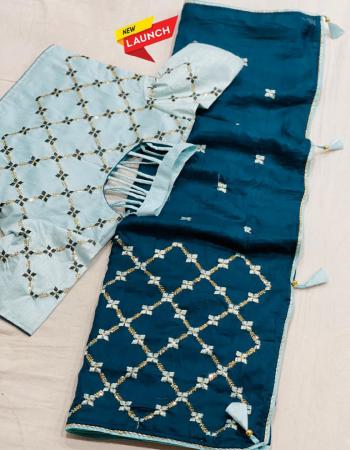 sky blue saree -dolla silk | blouse - readymade upto 42 to 44  fabric fancy work wedding