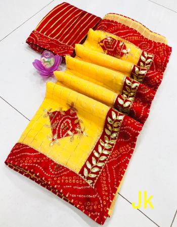 yellow saree - cotton zari chex | blouse -badhani print  fabric zari chex gotta patti work casual