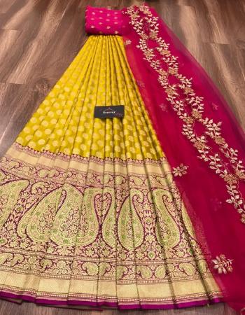 yellow lehena -kanjivaram silk 3m |blouse - banglori 0.80m |dupatta - organza 2.50m fabric embroidery work wedding