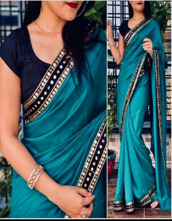 rama blue saree -vichitra silk |blouse -runnin fabric seqeunce work work party wear