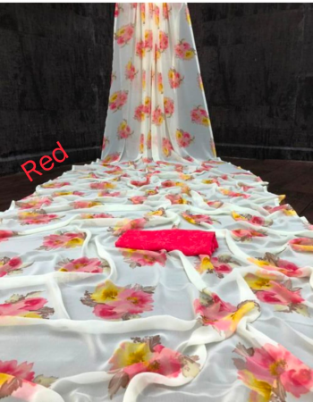 white red georgette fabric printed work running