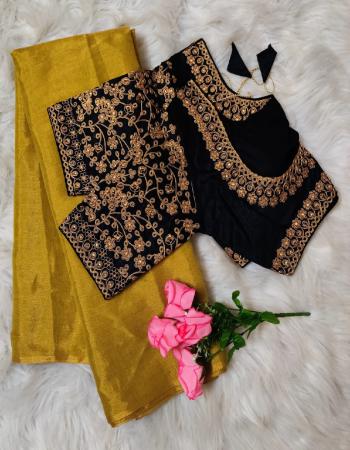 yellow black saree -uppada tissue silk | blouse -heavy fantam silk full stitch size 38 to 42  fabric embroidery work party wear