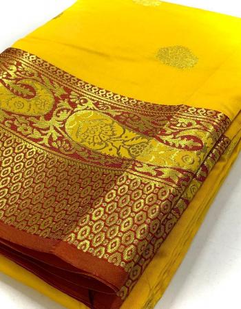 yellow kanjivaram soft silk fabric weaving jacqaurd  work ethnic
