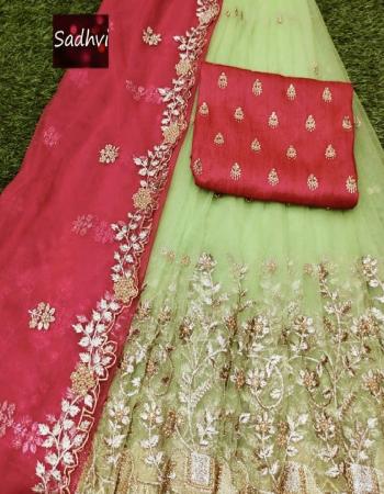 pista lehenga -organza 3.20m |blouse -banglori satin 1m |dupatta -organza 2.20m | type -semi stitch fabric embroidery cutwork work wedding