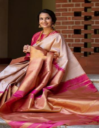 light peach pure lichi silk fabric weaving jacqaurd  work party wear
