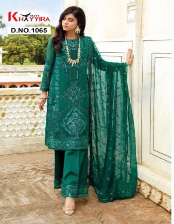 rama green top -georgette |bottom + inner -santoon |dupatta -nazmeen fabric embroidery work party wear