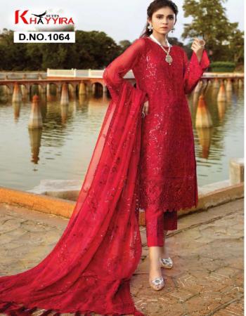 red top -georgette |bottom + inner -santoon |dupatta -nazmeen fabric embroidery work festive