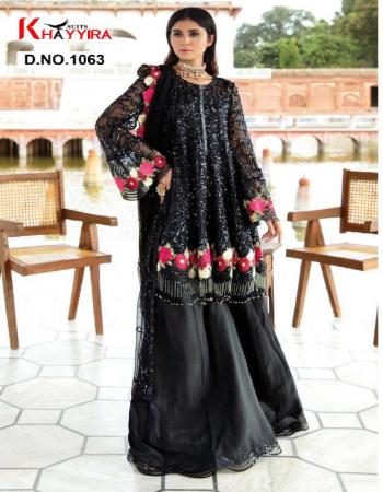 black top -georgette |bottom + inner -santoon |dupatta -net fabric embroidery work running