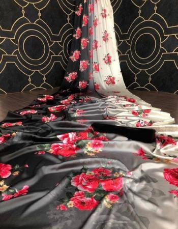 white black satin silk fabric digital print work ethnic