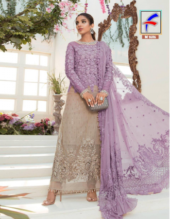 light purple top -heavy net with seqeunce embroidery |sleeve - heavy net | bottom +inner -santoon |dupatta -net | length -max upto 42 |type -semi stitch fabric embroidery seqeunce work casual