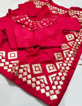 red saree -pure soft dola silk |blouse- designer 38 upto 42 readymade fabric gotta patti work festive
