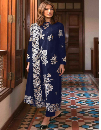 blue top -cambric cotton | bottom -cotton |dupatta - nazmeen  fabric embroidery  work casual