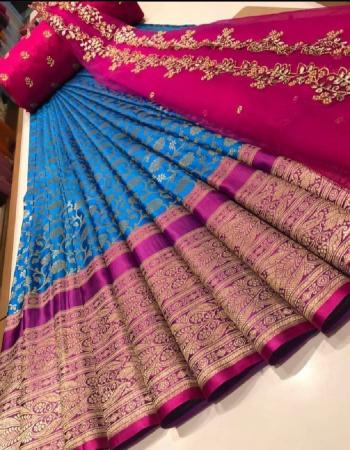 sky pink lehenga - kanjivaram silk 3.20m |blouse -banglori silk 1m |voni - pure organza 2.20m fabric embroidery  work party wear