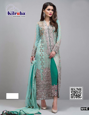 rama sky  top - georgette |bottom +inner -santoon | dupatta - net | type -semi stitched |size -fit upto 56 |length - 48  fabric embroidery zari lace work work casual