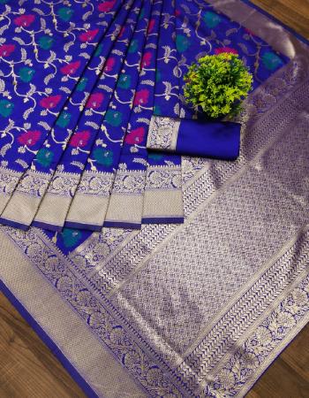 blue soft silk fabric weaving jacqaurd work party wear