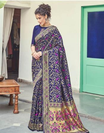 blue soft lichi silk fabric weaving jacqaurd work ethnic