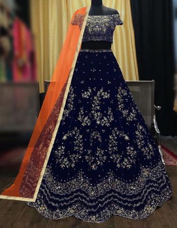blue lehenga -taffeta velvet |inner -satin silk |dupatta -net |blouse -taffeta velvet |waist length -44 | type -semi stitched fabric embroidery work ethnic