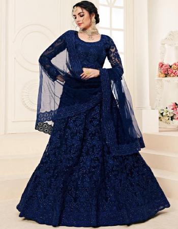 blue lehenga -net embroidery | inner -satin silk |dupatta -net |blouse -net | type -semi stitched |length 42+ | waits 44+ | type -semi stitched  fabric embroidery work party wear