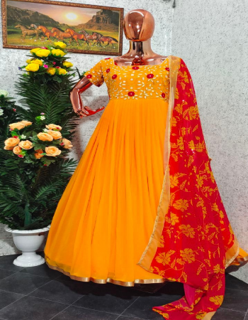 yellow gown -georgette with embroidery with micro cotton inner length 53-55 flair 3m full stitch upto42 |bottom -micro cotton |dupatta -fox georgette 2.20m | type -full stitched fabric embroidery work party wear