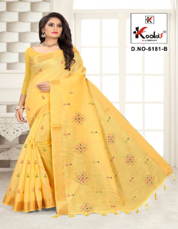 yellow cotton  fabric embroidery work casual