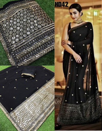 black saree -georgette | blouse -banglori silk fabric embroidery sequence work ethnic