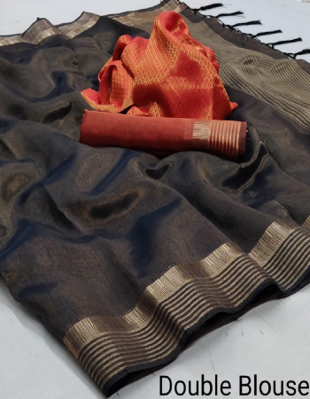 black cotton silk with double blouse  fabric weaving  work wedding