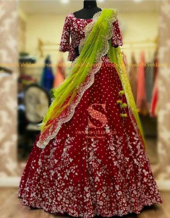 red lehenga - daimond silk with embroidery work |inner -crepe silk |dupatta-net | blouse -daimond silk |length -44+|waist - 42+|flair -2.40m | type -semi stitched  fabric embroidery work wedding