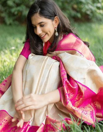 white pink soft lichi silk fabric weaving jacqaurd work wedding