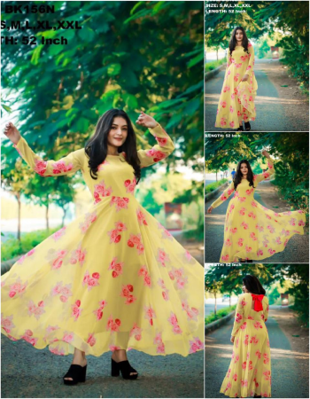 yellow georgette |length 52 flair 3.5m fabric printed work running