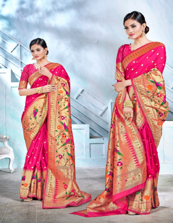 gajri  pure silk paithai fabric weaving jacqaurd work party wear