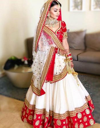white red  lehenga -malabari silk |inner -satin silk |dupatta -net 2.40m|blouse -taffeta silk 0.9m |waist -46+|length -44+ |flair -2.40m  fabric embroidery work festive