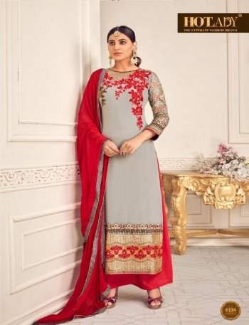 silver grey viscos georgette fabric embroidery work wedding