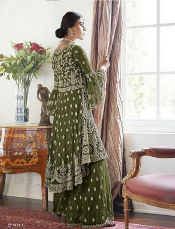apple green butterfly net fabric embroidery work wedding