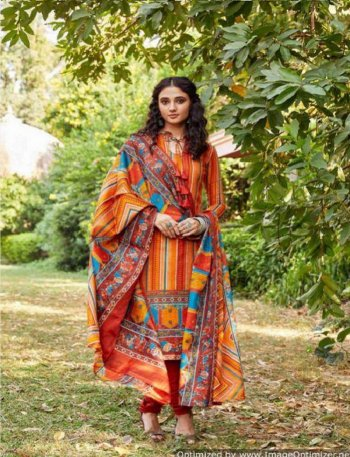 orange soft cotton fabric printed work casual