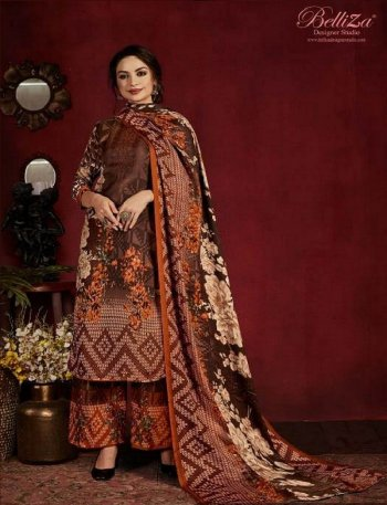 coffee pure pasmina fabric printed work festival