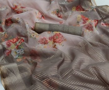 grey organza fabric printed work casual