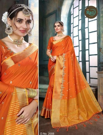 orange linen silk fabric weaving work wedding