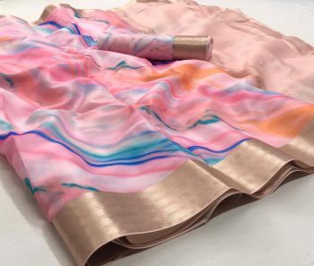 baby pink soft silk  fabric print work festival