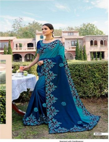 blue rangoli silk fabric embroidery work wedding