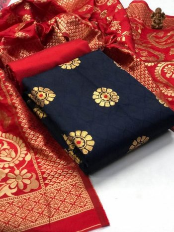 navy blue banarasi jacquard fabric weaving work casual