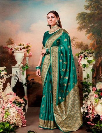 batli green banarasi jacquard fabric weaving work wedding