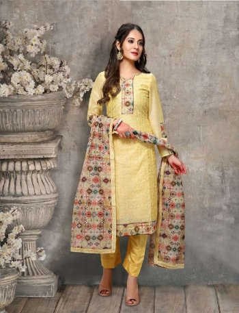 lime yellow chanderi fabric embroidery work festival