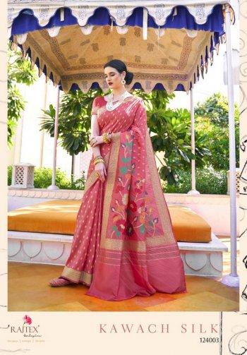 punch pink handloom silk fabric weaving work wedding