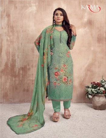 fern green georgette fabric digital print with embroidery work festival